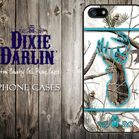 Country Inspired iPhone 4 / iPhone 4S / iPhone 5 / iPhone 5S / iPhone 5C Camo Cell Phone Case - Turquoise & Snow Camo Buck and Bow (CP0103)