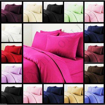 Plain Duvet Quilt Cover with Pillow Case Bedding Set Single, Double, King All Size