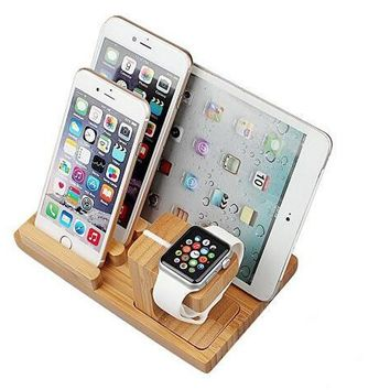 apple watch with phone pad charing stand sr 3 in 1 bamboo wood desk charging stand bracket station platform holder pen holder for apple watch iphone ipad and other phones tablets  number 2