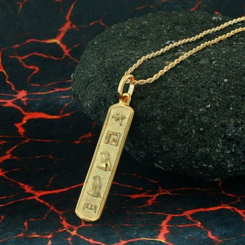 Egyptian Cartouche Necklace, Yellow Gold Plated, Silver, Personalized Name in English & Hieroglyphic Letters, Slim, CR002B