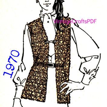 1970 Crochet Pattern | Vest | Hippie Clothing-Vest Pattern-Hippie Vest-Jacket Pattern-Gypsy-Clothing Pattern-Vintage Crafts PDF-- USA