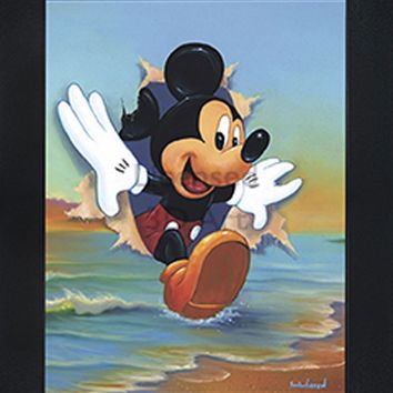 Mickey Mouse | Beach | 3D Art | By PFF | Framed | 3-D | Lenticular Artwork | Disney Licensed