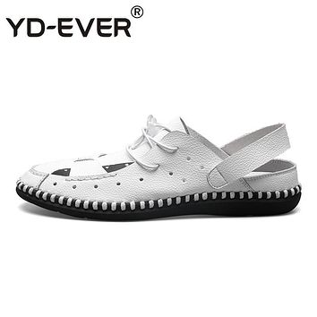 YD-EVER 100% genuine leather men sandals handmade Summer fashion brand beach slippers casual moccasin Handmade Soft Loafers 700