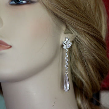 Bridal Earrings - Crystal Earrings, Wedding Earrings, Chandelier Earrings, Swarovski , Rhinestones, ,posts, Vintage Style Jewelry,(Linda)