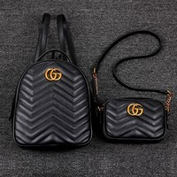 GUCCI Women Men Casual School Bag PU G Logo Leather Metal Backpack B-MYJSY-BB Black