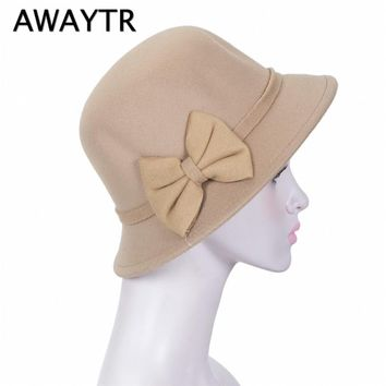 AWAYTR New Fashion Bow Hat For Women's  Felt Wide Brim Fedora Gambler Hat Autumn Headwear Fedoras Fashion Accessories