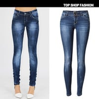 Summer Fashion Women's Fashion Low Waist Slim Stretch Denim Plus Size Skinny Pants [6365913668]