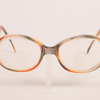 Vintage 70s peach and moss colored eyeglass frames / round retro tortoise shell plastic frames / Made in France/ Marlene
