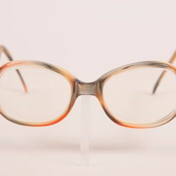 a0cda9be21 Vintage 70s peach and moss colored eyeglass frames   round retro