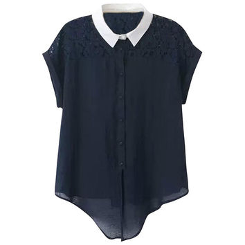 Navy Color Block Short Sleeve Blouse with Lace Accent