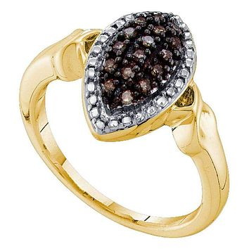 10kt Yellow Gold Women's Round Cognac-brown Color Enhanced Diamond Oval Cluster Ring 1/5 Cttw - FREE Shipping (US/CAN)