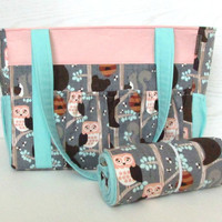 Monogrammed Boy Girl Diaper Bag in Owls Bears Squirrels and Aqua with Changing Pad 12 Pockets or Design Your Own