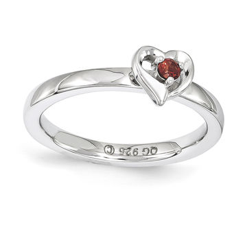 Sterling Silver Stackable Expressions Garnet Heart Ring