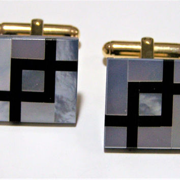 Inlaid Black Onyx Mother of Pearl Mens Cufflinks, Square Cuff Links, Mid Century Jewelry, Unisex Jewellery, Unique Fashion 317