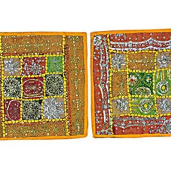 2 Vintage Cushion Covers - Bohemian Yoga Decor Shabby Chic Yellow Floor Pillow Covers India