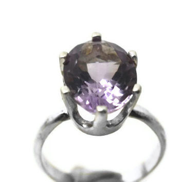 Pink Amethyst Ring, Sterling Silver Ring, Pink Gemstone Ring, Amethyst Engagement Ring, Amethyst Jewelry, Cocktail Ring