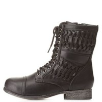 Bamboo Basket-Woven Combat Booties by Charlotte Russe