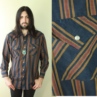 Vintage - 70s - Navy Blue Mustard & Red Stripe - Snap Button Up - Mens - Western - Cowboy - Long Sleeve Shirt - Ely Cattleman