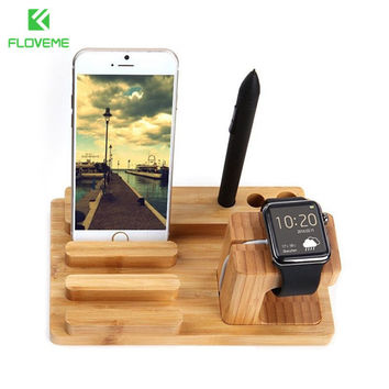 FLOVEME Luxury Natural Wood Charging Dock Stand Phone Holder For Apple iPhone 6 6s Plus 5s 5c 5  SE 4s for iWatch iPad Bracket