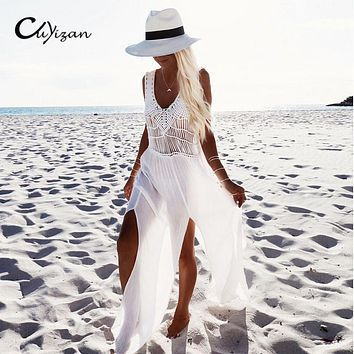 CUYIZAN 2017 Fashion Casual deep V Dress For Women Clothing Sexy Hollow Out White Lace Dress Summer Beach wear Dress With Belt