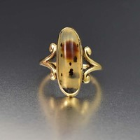 Charming 10K Gold Oval Dendritic Agate Ring