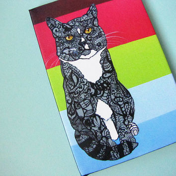 Cat Art Giclee - Wrapped Canvas Print of Original Acrylic Painting