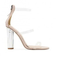 Lucite Strap Heels Nude Patent