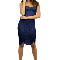 Endless Love Lace Bustier Dress - Navy