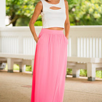 Sincere Wishes Maxi Skirt, Hot Pink