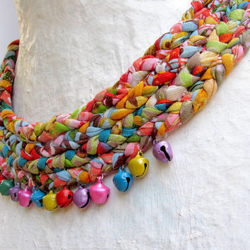 Multicolored braided fabric scarf necklace with bells by ATLIART