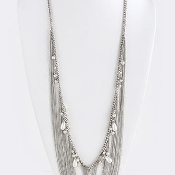 Pearl Fringe Long Chain Tiered Necklace
