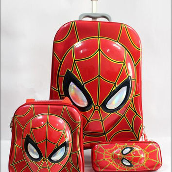 Free shipping  new kids luggage red spider man 16 inch travel suitcase sets (lunch box + pen boxes+trolley luggage )