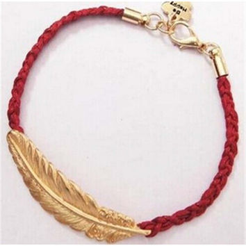 Vintage Jewelry Antique Accessories Handmade Diy Colorful Wax Rope Weaving Woven Feather Bracelet