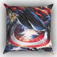 CAPTAIN AMERICA VS SPIDERMAN Y0205 Zippered Pillows  Covers 16x16, 18x18, 20x20 Inches