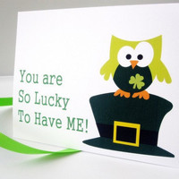 Lucky You Green Patrick Owl Card | Luulla