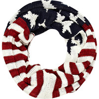 River Island MensNavy stars and stripes knitted snood