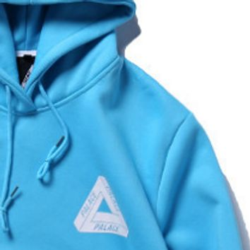 Palace autumn and winter triangle printed men and women hood hooded sweater Blue