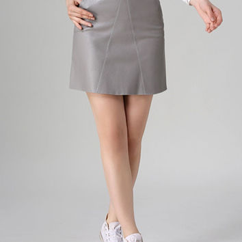 Gray High Waist PU Pencil Skirt