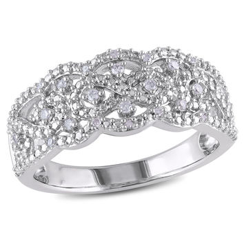 Diamond Accent Multi-Row Infinity Band in Sterling Silver
