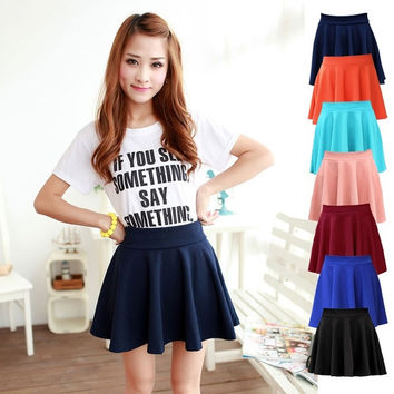 Fashion Sexy Women High Waist Pleated Double Layered Sheer Short Chiffon Skirts Stretch Waist Sexy = 1946611908