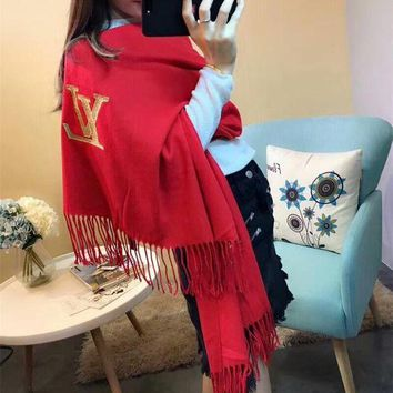 NOV9O2 Luxury Louis Vuitton LV Keep Warm Scarf Gold Thread Embroidery Scarves Winter Wool Shawl - Red