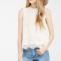 Scalloped Lace Mock Neck Top