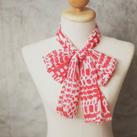 Chiffion scarf, hair scarf, head wrap, neck bow, stretchy headband, pattern print - coral red geometry random pattern