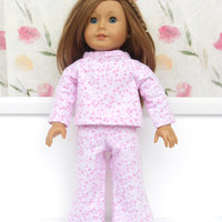 18 Inch Doll Clothes, Pink Doll Pajamas, Flannel Pajamas, Pink Flannel Pyjamas, Winter Doll Clothes
