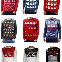 Mens Snowman Christmas Tree Novelty Festive Jumper Sweater Xs S M L Xl