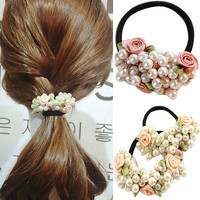 Women Fashion Rhinestone Crystal Pearl Hair Band Rope Elastic Ponytail Holder