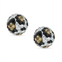 8mm Leopard Pattern Crystal Ball Stud Earrings in 10K Gold - - View All - PAGODA.COM