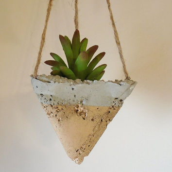 Hanging Concrete Succulent Pyramid Geometric Planter, Hand-Painted Metallic Gold, Jute Twine