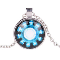 Iron Man Arc Reactor Glass Dome Silver necklace for women men Jewelry