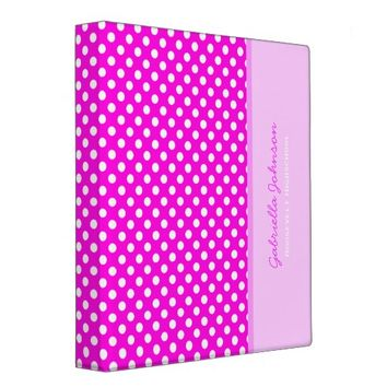 Personalized: Pink With White Polka Dot Binder